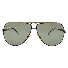New Vintage Safilo Skipper 185 Black Mate Aviator 80's Sunglasses Madein Italy