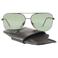 New Vintage Safilo Sporting 86 003 Black Mate Aviator 1980's Sunglasses