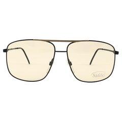 New Vintage Safilo Sporting 89 Black Mate Aviator 80's Sunglasses Madein Italy