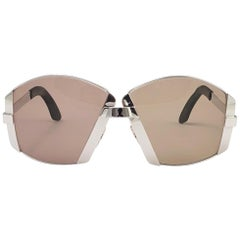 New Vintage Sapphira M713 Oversized Silver Brown Lenses Sunglasses