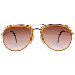 New Vintage Serge Kirchhofer Two Tone Amber MOD 209 Aviator Sunglasses Austria