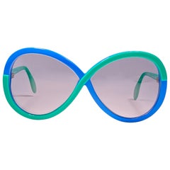 New Vintage Silhouette 3024 Green & Blue Infinity Funk Germany 1980 Sunglasses