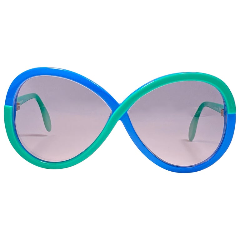 New Vintage Silhouette 3024 Green & Blue Infinity Funk Germany 1980 Sunglasses  For Sale