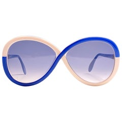 New Vintage Silhouette 3024 White Blue Funk Germany 1980 Sunglasses