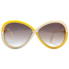 New Vintage Silhouette 3024 Yellow & Beige Funk Germany 1980 Sunglasses
