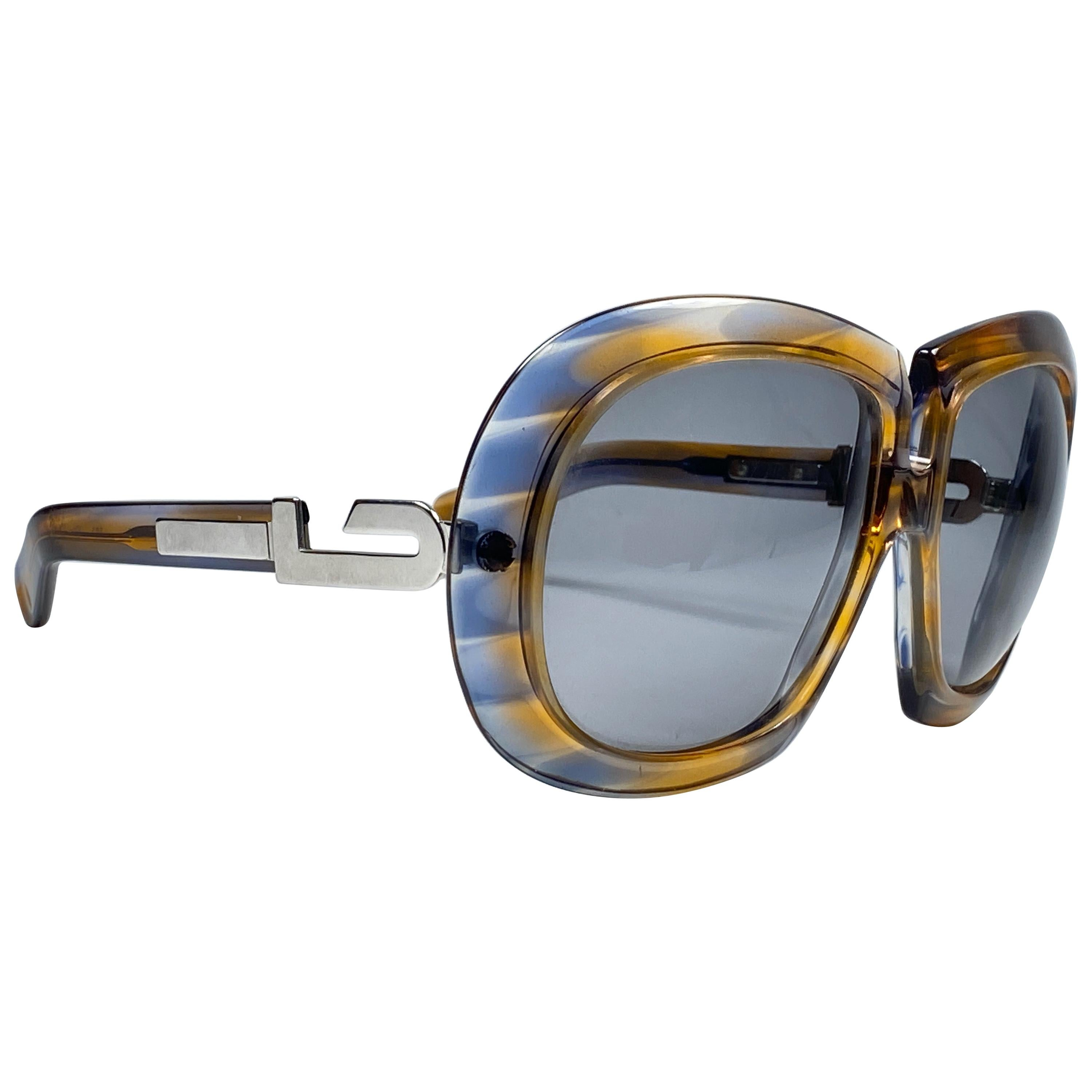 New Vintage Silhouette 559 Clear Oversized Silver Funk Germany 1970 Sunglasses