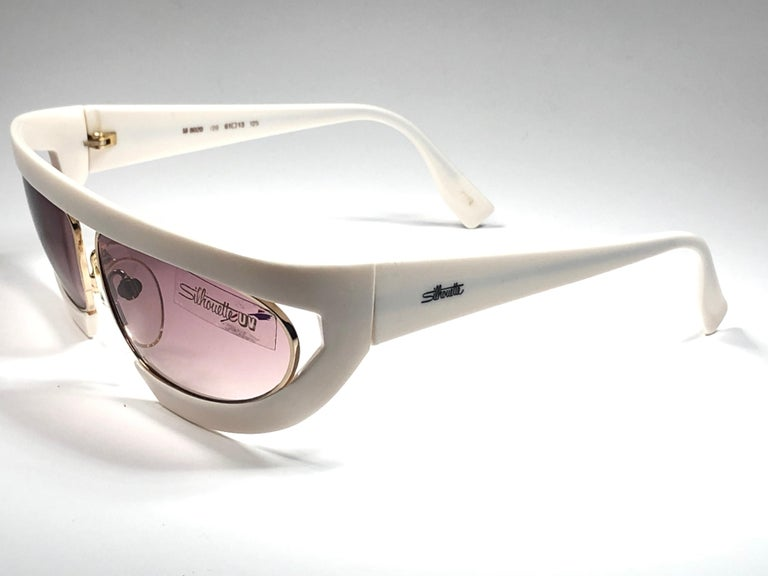 New Vintage Silhouette Mask M8020 White 1980's Sunglasses For Sale 1