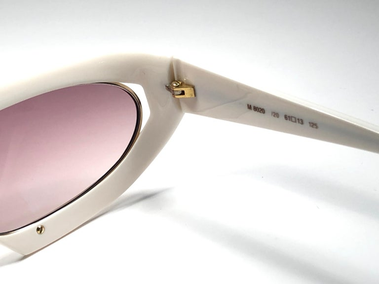 New Vintage Silhouette Mask M8020 White 1980's Sunglasses For Sale 2