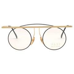 New Vintage TAXI By Casanova Round Small Gold & Black 1980 Sunglasses