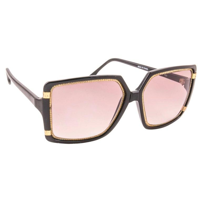 New Vintage Ted Lapidus Paris TL 15 01 Gold & Black 1970 Sunglasses For Sale