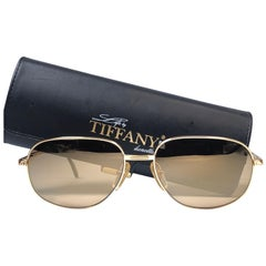 New Vintage Tiffany T371  Gold  Mirror Plated Gold 1990 Sunglasses France