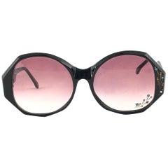 New Vintage Ultra Tahiti Black Rhinestones Rose Lens Oversized 1960's Sunglasses