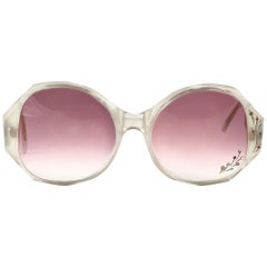 New Vintage Ultra Tahiti Clear Rhinestones Rose Lens Oversized 1960's Sunglasses