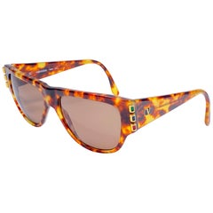 New Vintage Valentino 572 Blond Tortoise Sunglasses 1980's Made in Italy
