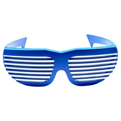 New Vintage Volpini Blue Shutter Shades Sunglasses 1980's Made in France