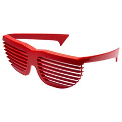 New Vintage Volpini Red Shutter Shades Sunglasses 1980's Made in France
