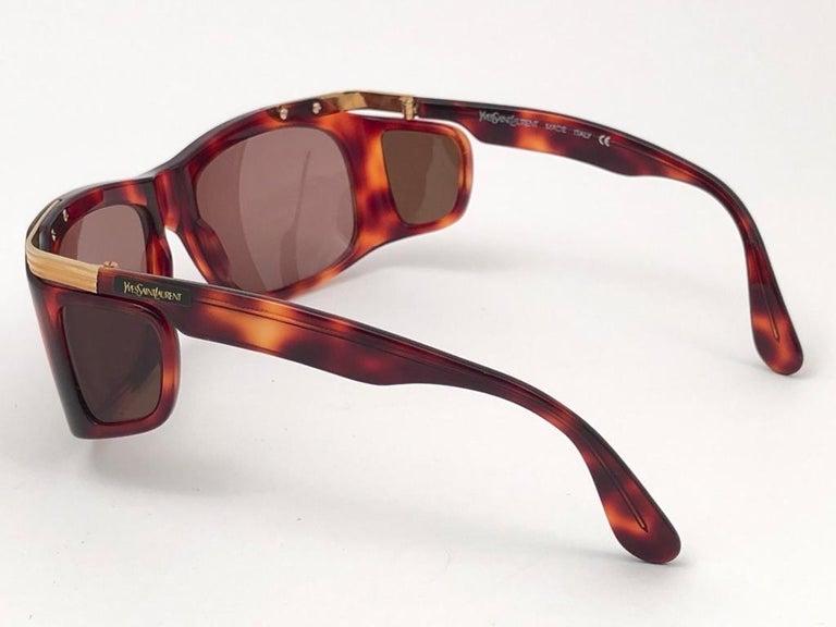 Men's New Vintage Yves Saint Laurent YSL 6517 Tortoise and Gold France Sunglasses For Sale