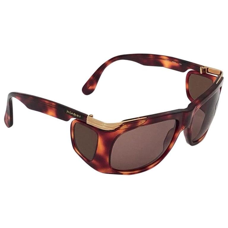 New Vintage Yves Saint Laurent YSL 6517 Tortoise and Gold France Sunglasses For Sale