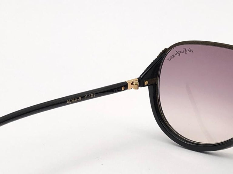 New Vintage Yves Saint Laurent YSL Alma Black Oversized  1980 France Sunglasses For Sale 2