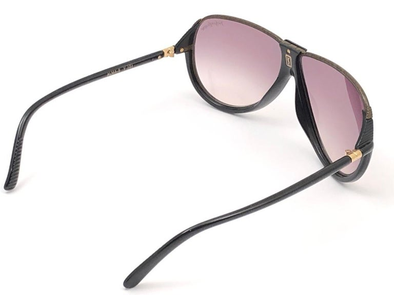 New Vintage Yves Saint Laurent YSL Alma Black Oversized  1980 France Sunglasses For Sale 4