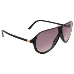 New Vintage Yves Saint Laurent YSL Alma Black Oversized  1980 France Sunglasses
