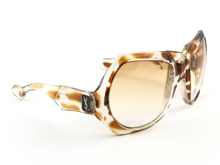 New Vintage Yves Saint Laurent YSL Giraffe 1980 France Sunglasses For Sale 2