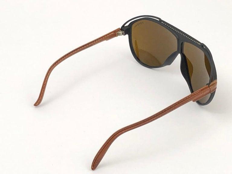 New Vintage Yves Saint Laurent YSL Oversized Leather 1980 France Sunglasses For Sale 6