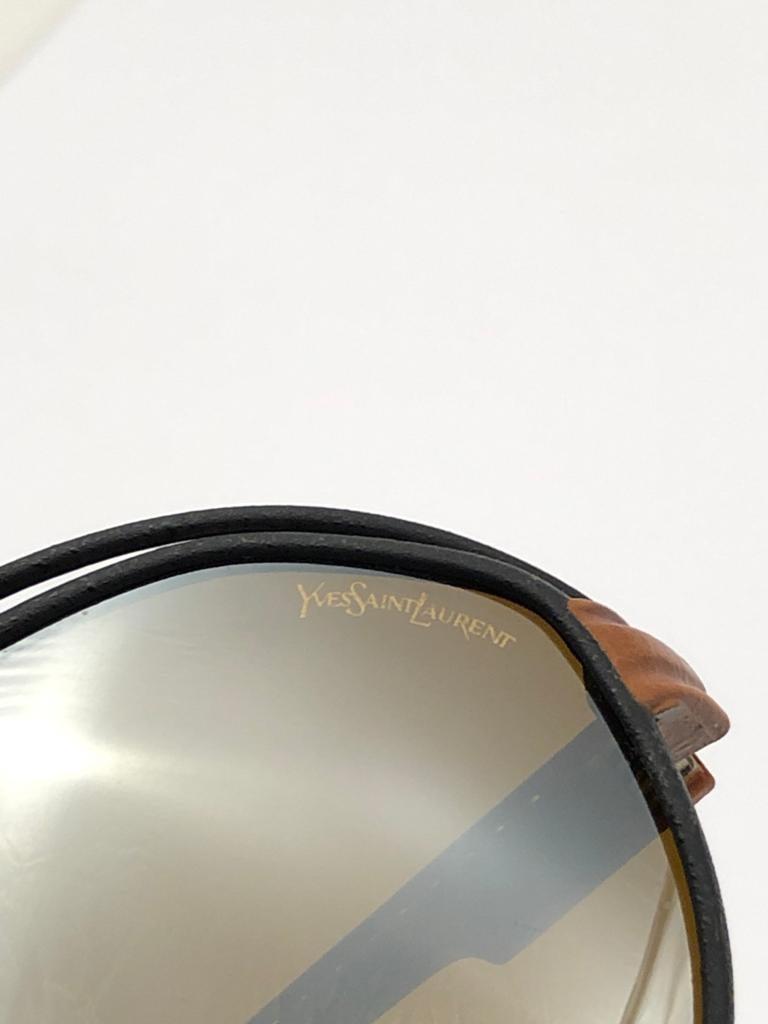 New Vintage Yves Saint Laurent YSL Oversized Leather 1980 France Sunglasses For Sale 7