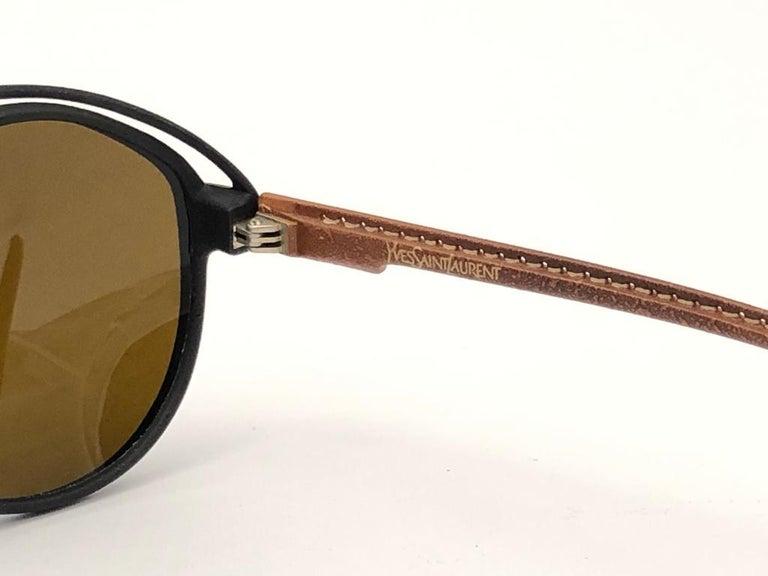 Men's New Vintage Yves Saint Laurent YSL Oversized Leather 1980 France Sunglasses For Sale