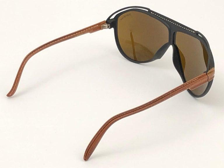 New Vintage Yves Saint Laurent YSL Oversized Leather 1980 France Sunglasses For Sale 1