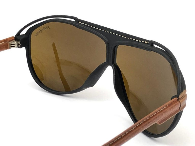 New Vintage Yves Saint Laurent YSL Oversized Leather 1980 France Sunglasses For Sale 3