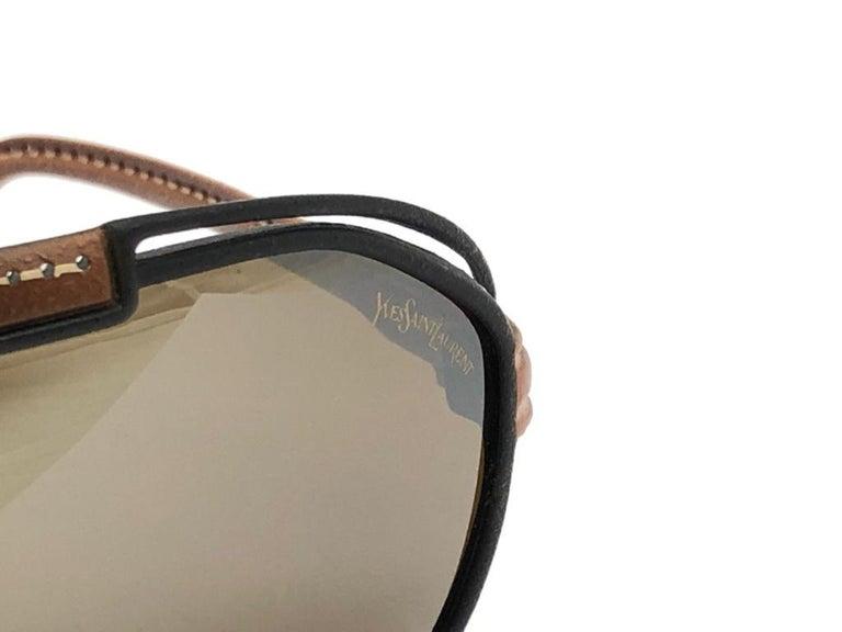 New Vintage Yves Saint Laurent YSL Oversized Leather 1980 France Sunglasses For Sale 5