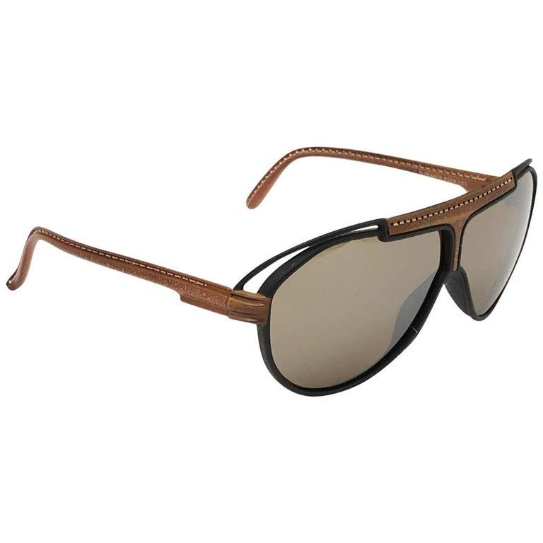 New Vintage Yves Saint Laurent YSL Oversized Leather 1980 France Sunglasses For Sale