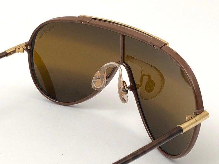 New Vintage Yves Saint Laurent YSL WINGS 8403 Oversized  1980 France Sunglasses For Sale 1