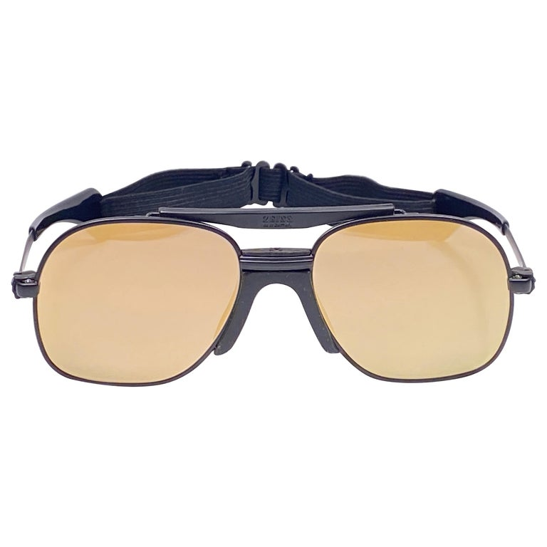 New Vintage Zeiss Black Matte Frame Flat Lens Made West Germany 1970 Sunglasses For Sale