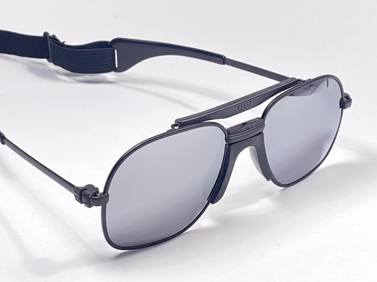 Men's New Vintage Zeiss Black Matte Frame Mirror Lenses West Germany 1970 Sunglasses For Sale