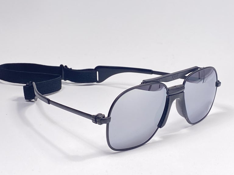 New Vintage Zeiss Black Matte Frame Mirror Lenses West Germany 1970 Sunglasses For Sale 1