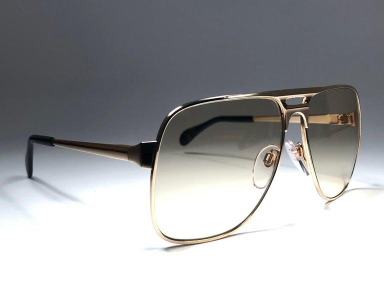 Black New Vintage Zeiss Gold Oversized Frame Changeable Lenses 1970's Sunglasses For Sale