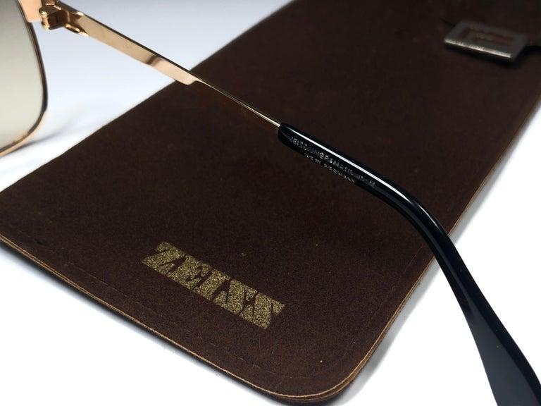 Men's New Vintage Zeiss Gold Oversized Frame Changeable Lenses 1970's Sunglasses For Sale