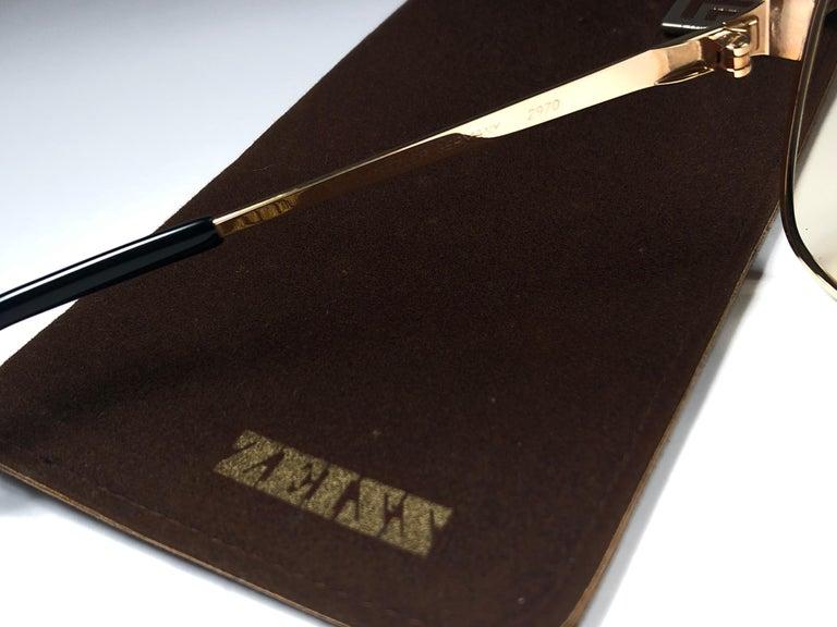New Vintage Zeiss Gold Oversized Frame Changeable Lenses 1970's Sunglasses For Sale 1