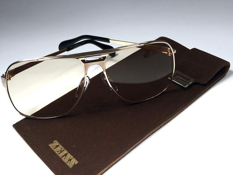 New Vintage Zeiss Gold Oversized Frame Changeable Lenses 1970's Sunglasses For Sale 2