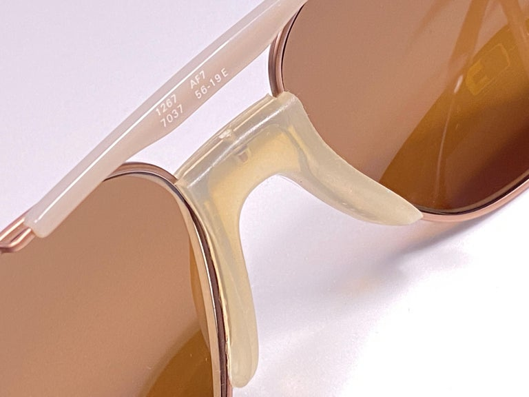 Brown New Vintage Zeiss Metallic Rose Frame Mirror Lenses West Germany 1970 Sunglasses For Sale