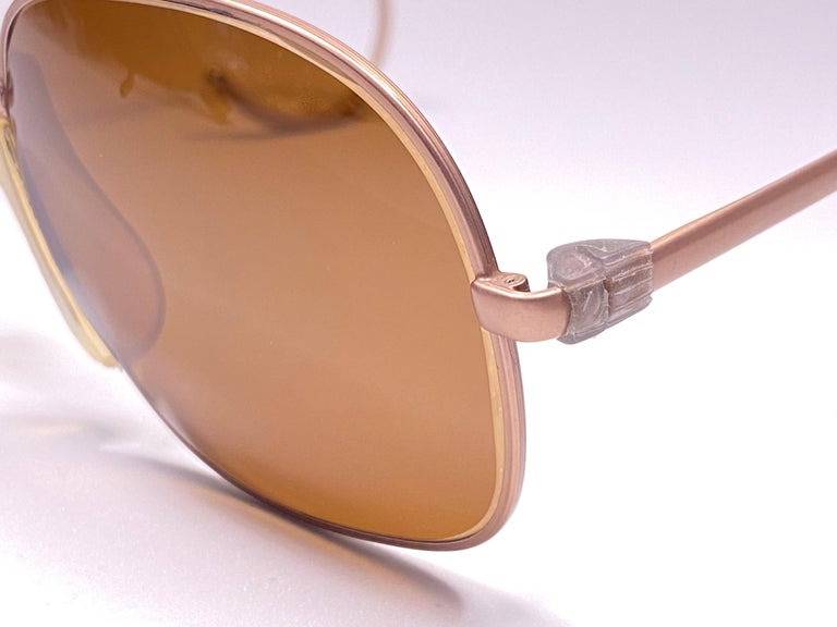New Vintage Zeiss Metallic Rose Frame Mirror Lenses West Germany 1970 Sunglasses In New Condition For Sale In Amsterdam, Noord Holland