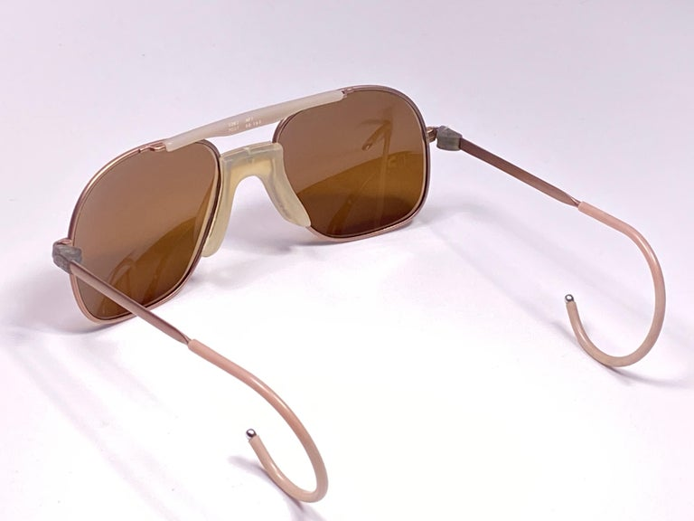 New Vintage Zeiss Metallic Rose Frame Mirror Lenses West Germany 1970 Sunglasses For Sale 1