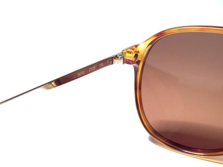 Men's New Vintage Zeiss Tortoise Frame Brown Lenses 1970's Sunglasses For Sale