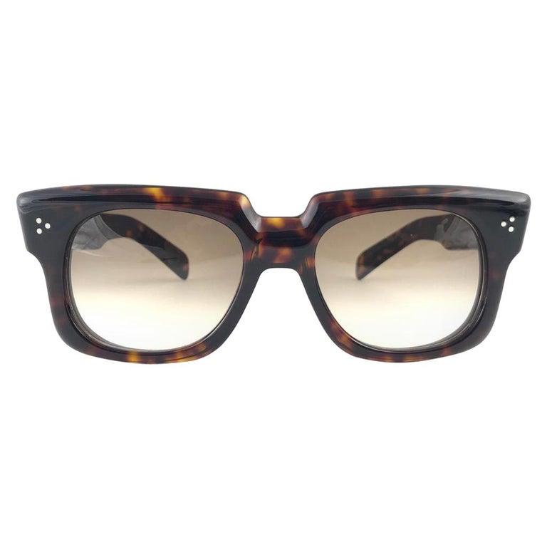 New Vintage Zollitsch 302 Dark Tortoise Robust Frame Gradient 1970 Sunglasses For Sale