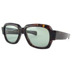 New Vintage Zollitsch MOD 217  Tortoise Robust Frame Green Lens 1970 Sunglasses