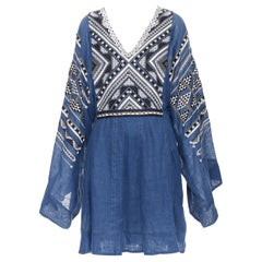 new VITA KIN blue Vyshyvanka button embellished wide sleeve boho day dress S