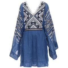 new VITA KIN blue Vyshyvanka embroidery bohemian folk wide sleeve mini dress S