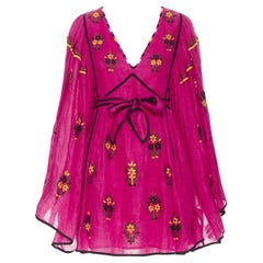 new VITA KIN fuschia Vyshyvanka embroidery bohemian folk wide sleeve dress XS